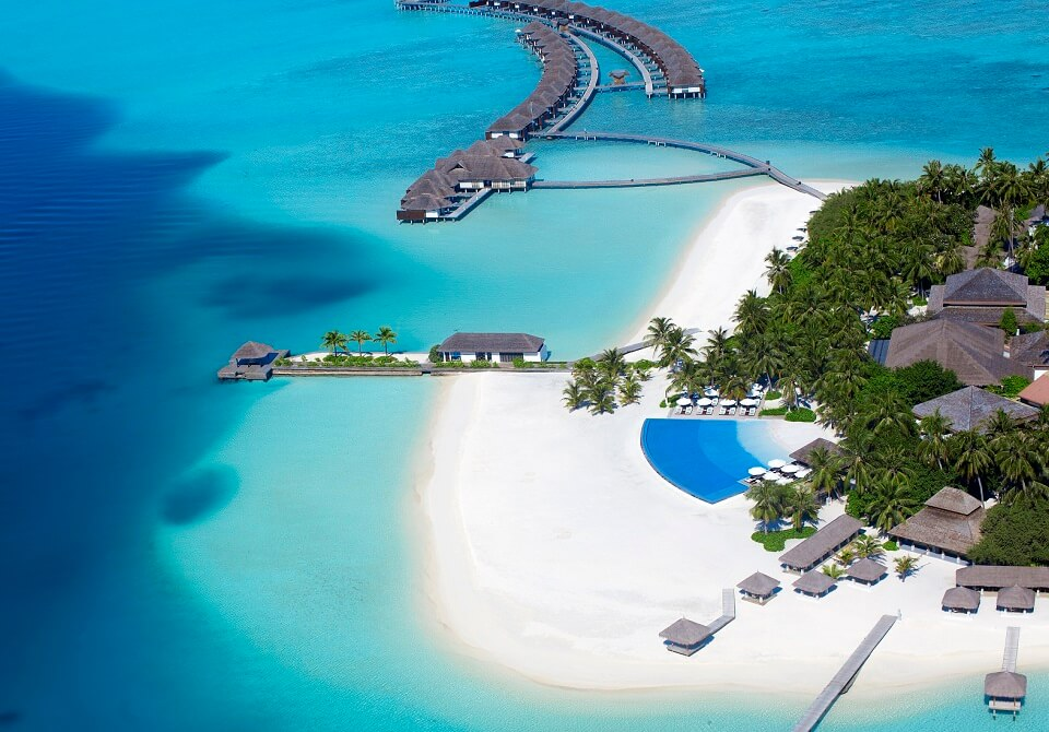 Malediwy - Hotel Velassaru, widok z lotu ptaka