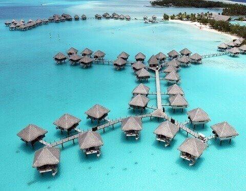 Domy na wodzie w Polinezji Francuskiej