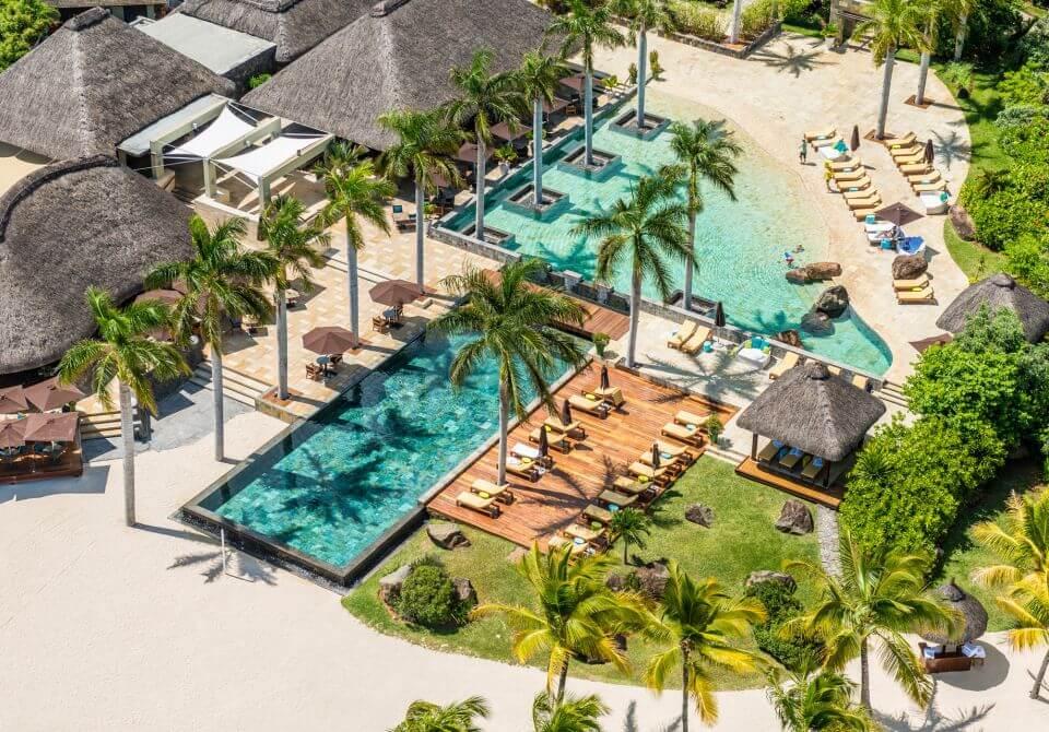 Widok z lotu ptaka na hotel na Mauritiusie