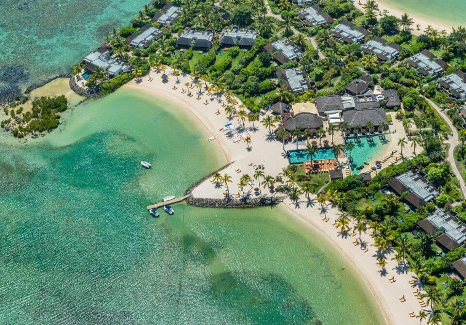 Widok z lotu ptaka na plaże w Mauritiusie